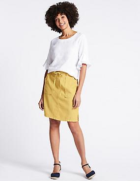 Linen Rich Patch Pocket Pencil Midi Skirt, ANTIQUE GOLD, catlanding