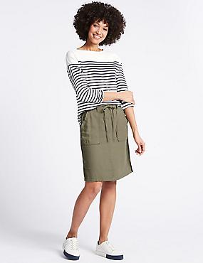 Linen Rich Patch Pocket Pencil Midi Skirt, KHAKI, catlanding