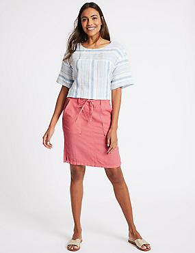 Linen Rich Patch Pocket Pencil Midi Skirt, WATERMELON, catlanding