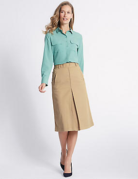 Cotton Rich Pleated Midi Skirt , NEUTRAL, catlanding