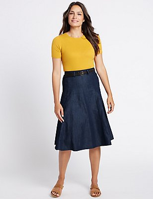 Denim Belted A-Line Midi Skirt, INDIGO, catlanding