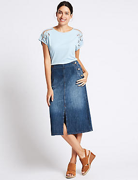 Denim Split Detail Pencil Midi Skirt, INDIGO MIX, catlanding