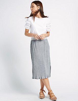 Pleated Midi Skirt, GREY MARL, catlanding