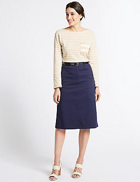 Cotton Rich Pencil skirt , NAVY, catlanding