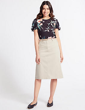Cotton Rich Pencil skirt , NEUTRAL, catlanding
