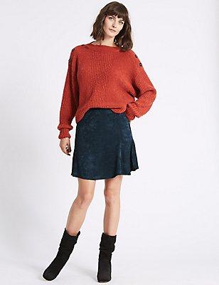 Jacquard Flippy A-Line Mini Skirt , NAVY, catlanding