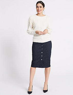 Cotton Rich Striped Denim Skirt, NAVY STRIPE, catlanding