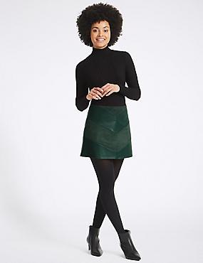Faux Leather Chevron A-Line Mini Skirt, KHAKI, catlanding