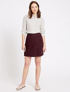 Cotton Rich Cord A-Line Midi Skirt, DARK GRAPE, catlanding