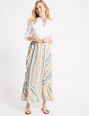 Pure Linen Striped Cut About Full Maxi Skirt, IVORY MIX, catlanding