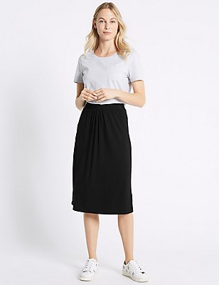 Curved Hem Pleated Midi Skirt, BLACK, catlanding
