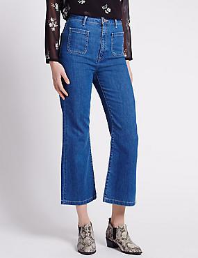 Cropped Flare Jeans, INDIGO MIX, catlanding