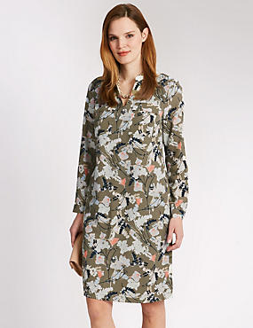 Leaf Print Notch Neck Shift Dress