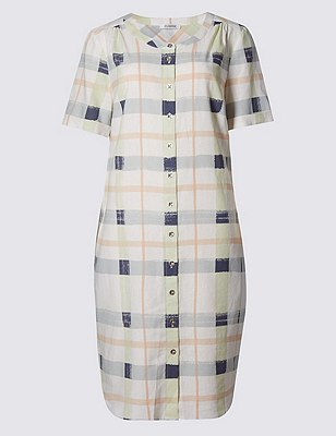 Loose Fit Checked Shift Dress, BLUE MIX, catlanding