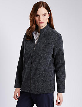 Funnel Neck Bouclé Fleece Jacket