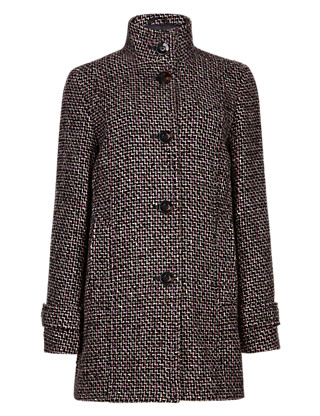 Textured Coat with Wool Clothing