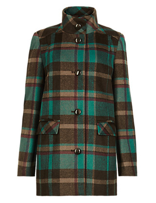 Checked Coat with Wool Clothing