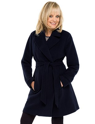 Wrap Front Belted Overcoat with Wool & Cashmere, NAVY, catlanding