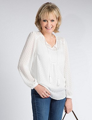 Clipped Blouse with Camisole, CREAM, catlanding