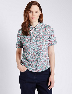 Pure Cotton Ditsy Floral Dobby Shirt, BLUE MIX, catlanding