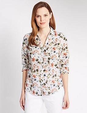 Cotton Rich Floral Shirt with Silk