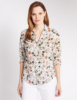Cotton Rich Floral Shirt with Silk, KHAKI MIX, catlanding