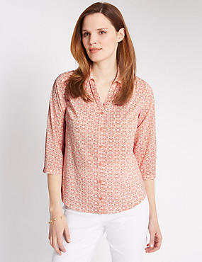 3/4 Sleeve Tile Print Shirt