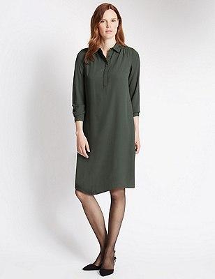 Pintuck Detail Shift Dress, DARK ALMOND, catlanding