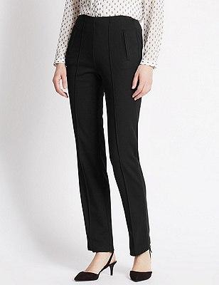 Ponte Straight Leg Trousers, BLACK, catlanding