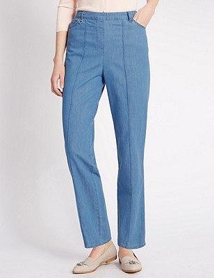Ultimate Comfort Tapered Leg Jeans, CHAMBRAY, catlanding