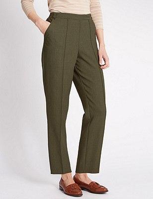 Pull On Textured Tapered Leg Trousers, MEDIUM KHAKI, catlanding