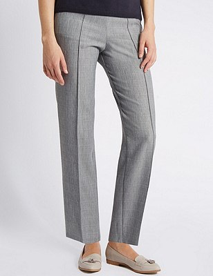Pull On Textured Straight Leg Trousers, GREY MIX, catlanding