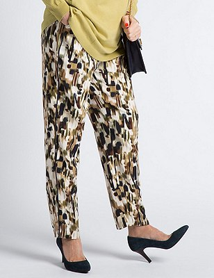 Abstract Print Straight Leg Trousers, NAVY MIX, catlanding