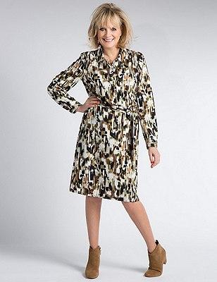 Abstract Print Belted Shirt Dress, NAVY MIX, catlanding