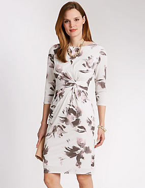 Twisted Front Floral Shift Dress