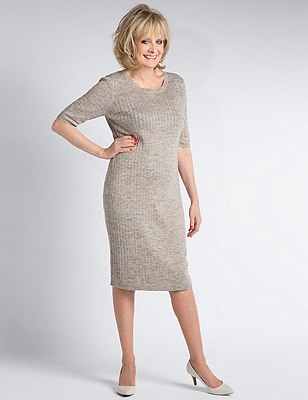 Knitted Bodycon Dress with Linen, OATMEAL, catlanding