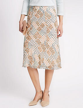 Patchwork Georgette A-Line Skirt
