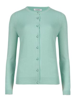 Cashmilon™ Pearl Effect Button Cardigan Clothing