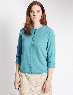 Button Through Cardigan, BLUE, catlanding