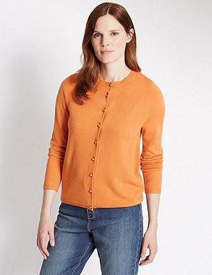 Button Through Cardigan, SOFT ORANGE, catlanding