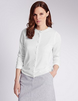 Button Through Cardigan, WHITE, catlanding
