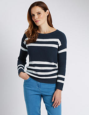 Pure Cotton Ribbed & Striped Jumper