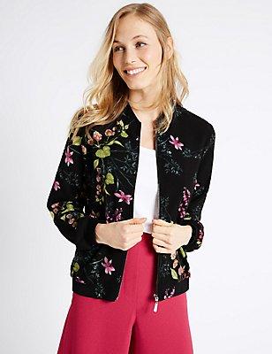 Floral Print Bomber Jacket, BLACK MIX, catlanding