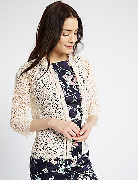 Cotton Rich All Over Lace Jacket, CREAM, catlanding