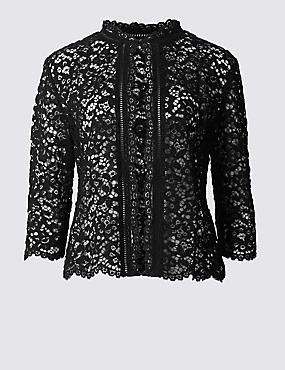 Cotton Rich All Over Lace Jacket, BLACK, catlanding