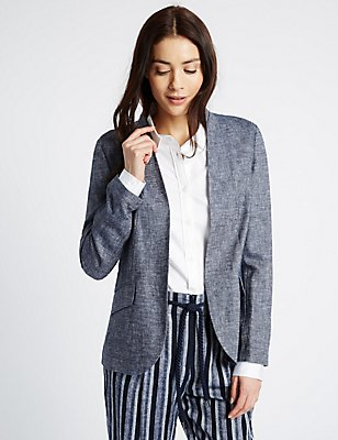 Linen Rich Jacket, NAVY MIX, catlanding