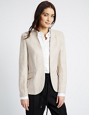 Linen Rich Jacket, BEIGE MIX, catlanding