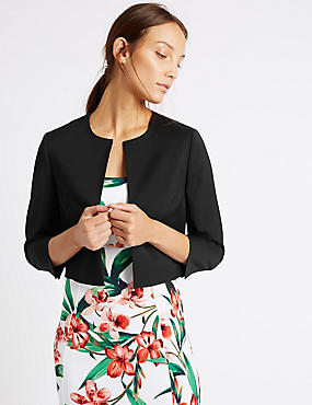 Cropped Tailored Bolero Jacket, BLACK, catlanding