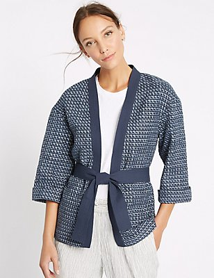 Cotton Rich Textured Wave Judo Jacket, BLUE MIX, catlanding