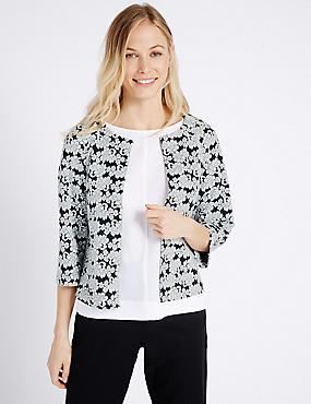 Floral Print Collarless Jacket, BLACK MIX, catlanding